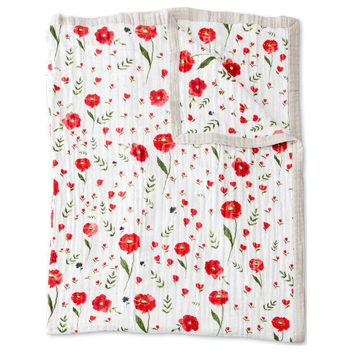 XL Muslin Quilt, Summer Poppy