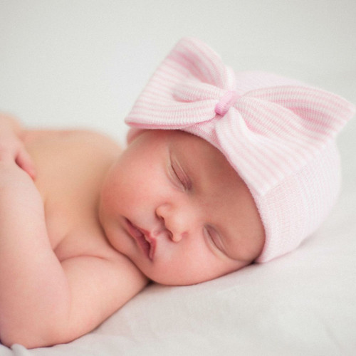 Newborn Hat, Pink Striped Bow