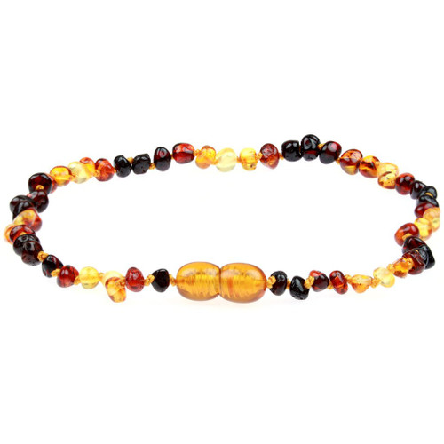 Amber Teething Necklace, Baroque Rainbow