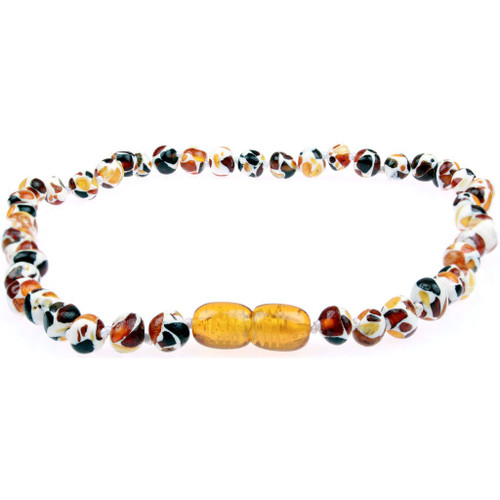 Amber Teething Necklace, Baroque Mosiac