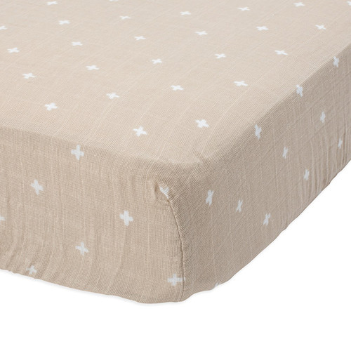 Muslin Fitted Crib Sheet, Taupe Cross