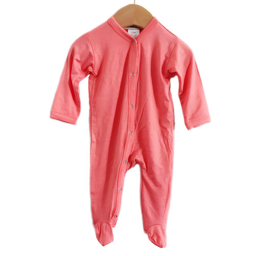 Footed Romper, Coral