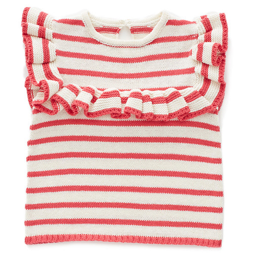 Oeuf Frou Frou Ruffle Sweater, Red
