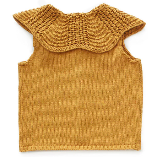 Oeuf Scalloped Collar Vest, Ochre
