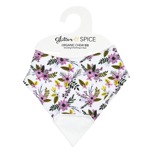 Double Sided Organic Chew Bib,  Periwinkle Flower