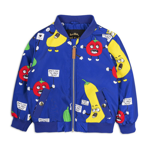 Mini Rodini Veggie Baseball Jacket, Blue