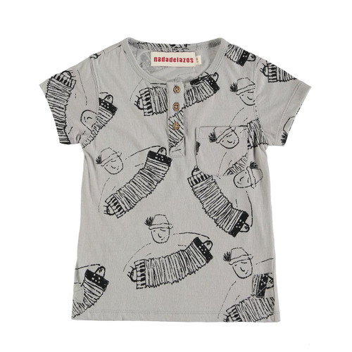 Organic Cotton All Over Accordian Button Tee