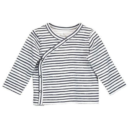Stripe Side Snap Tee, Navy
