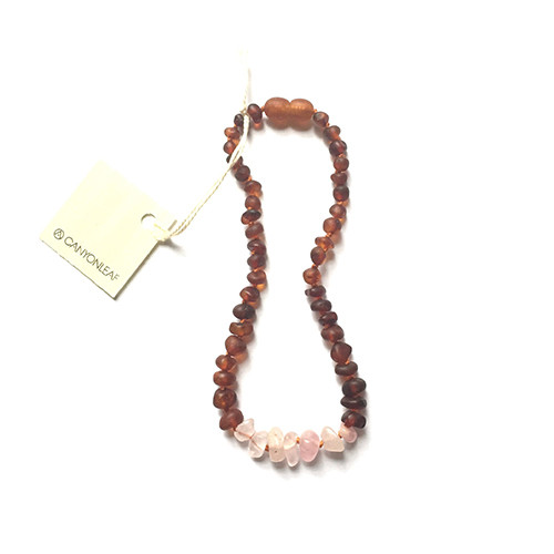 Raw Cognac Amber Teething Necklace, Rose Quartz Howlite