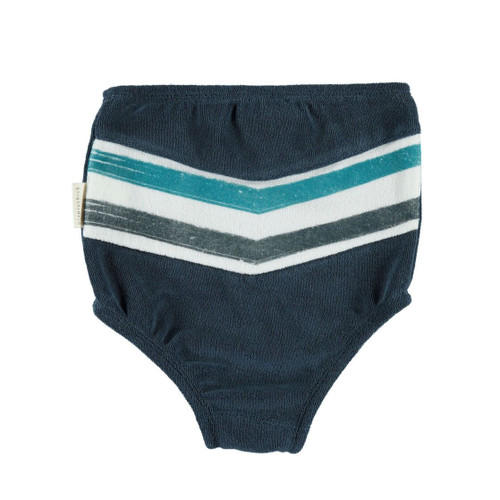 Terry High Waisted Bloomer, Navy Stripe
