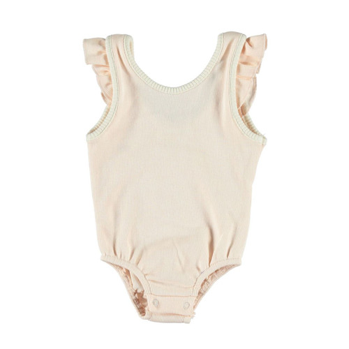 Ribbed Ruffle Bodysuit, Peachy Pink
