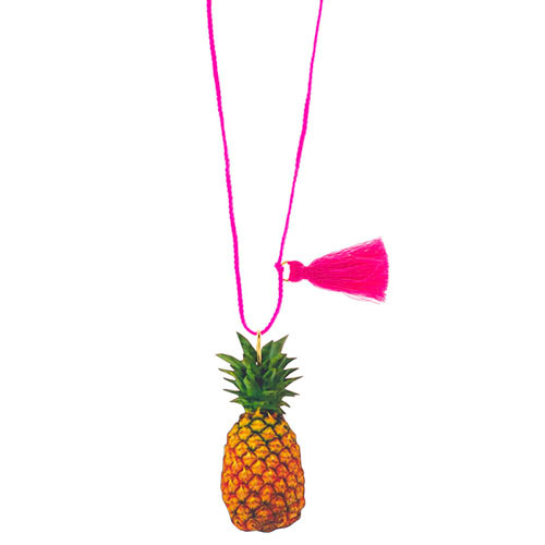 Pineapple Love Wood Necklace