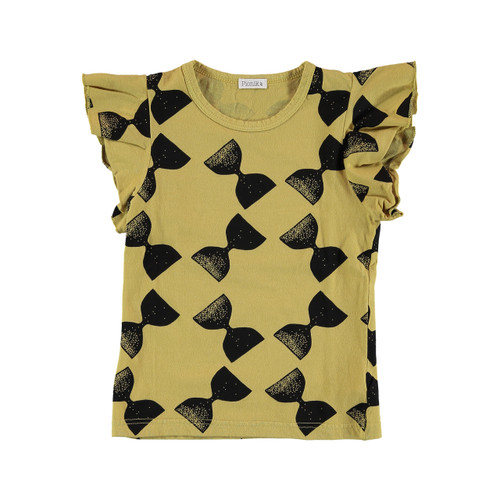 Ruffle Top, Mustard/Black Stamped