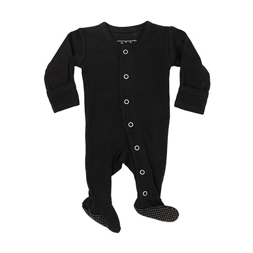 Organic Footed Romper, Black