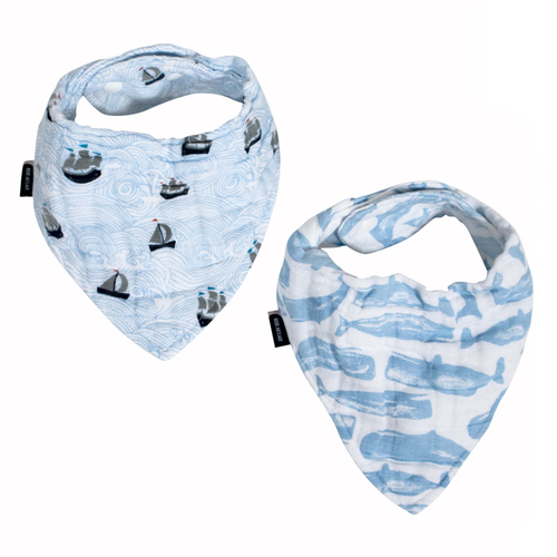 Muslin Bandana Bib Set, High Seas