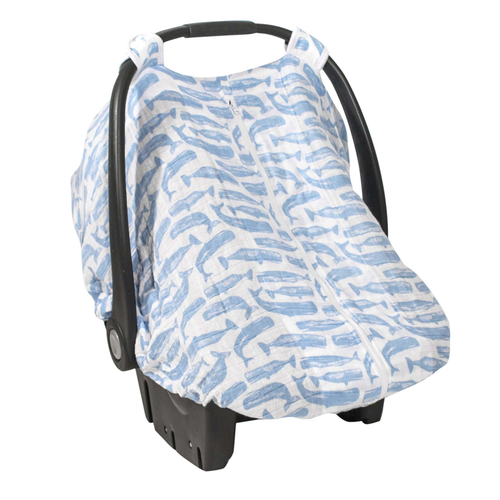 Muslin Car Seat Canopy, Whales