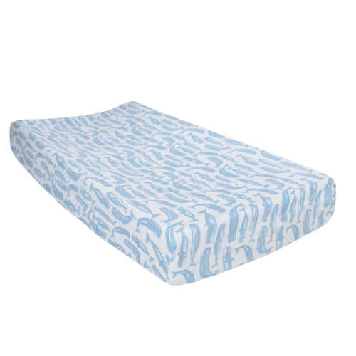 Muslin Changing Pad Cover, Whales