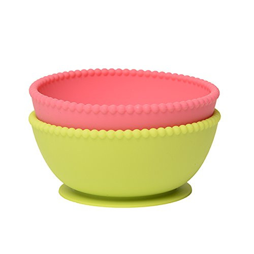 Chewbeads Silicone Bowls Set of Two, Pink/Chartreuse