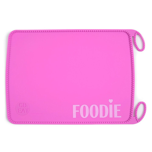 Chewbeads Silicone Roll-up Placemat, Pink Foodie