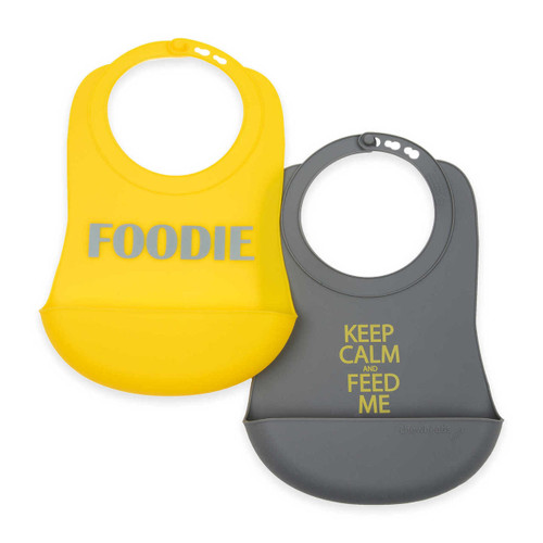 Chewbeads® Foodie 2-Pack Silicone Food Bibs in Grey