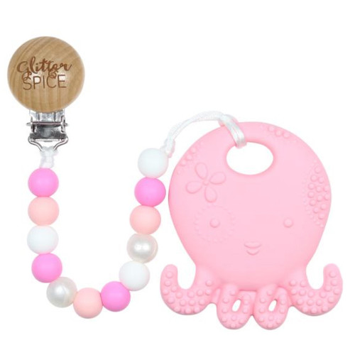 Teether with Clip, Pink Octopus
