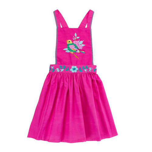 Pomme Pinafore, Cerise with Hand Stitch