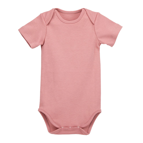 Pima Cotton Short Sleeve Bodysuit, Rosey Pink