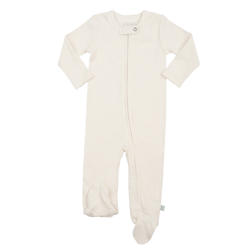 Organic Cotton Zip Footed Romper, Off White