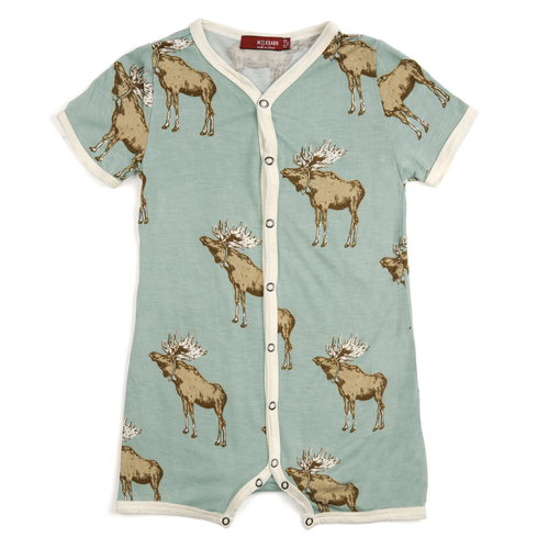 Bow Tie Moose Bamboo Shorts Romper