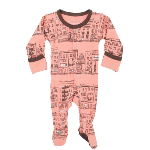 Organic Footed Romper, City Block Coral