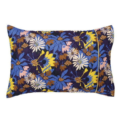 Quilted Pillowcase, Flora Blue