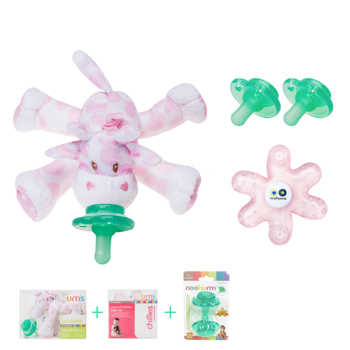 Pink Giraffe Buddies Pacifier Gift Set