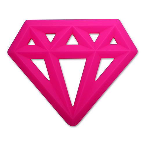 Silicone Diamond Teether, Neon Pink