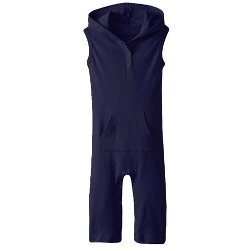 Organic Sleeveless Hooded Overall, Navy