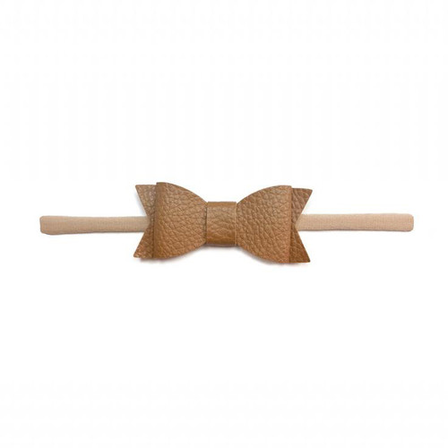 Skinny Leather Bow, Camel