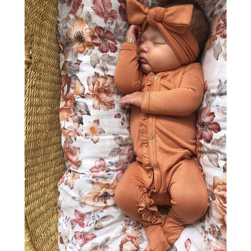 Ruffle Footed Romper, Rust