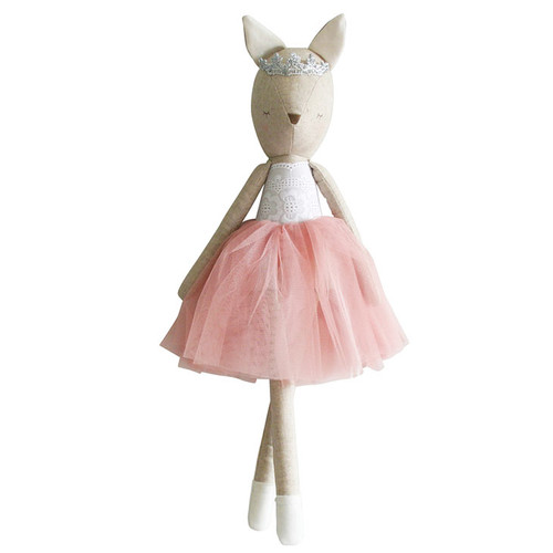 Adele is a beautiful 50cm tall deer with a silver tiara, beautiful blush tulle tutu and a white broderie cotton bodice.  Absolutely divine!  Suitable from 3 years.