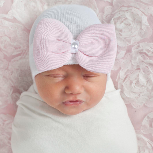 Newborn Bow Hat, White/Pink Pearl