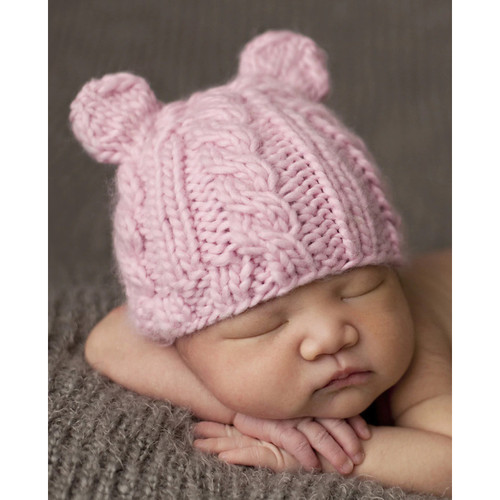 Cable Bear Hat, Pink