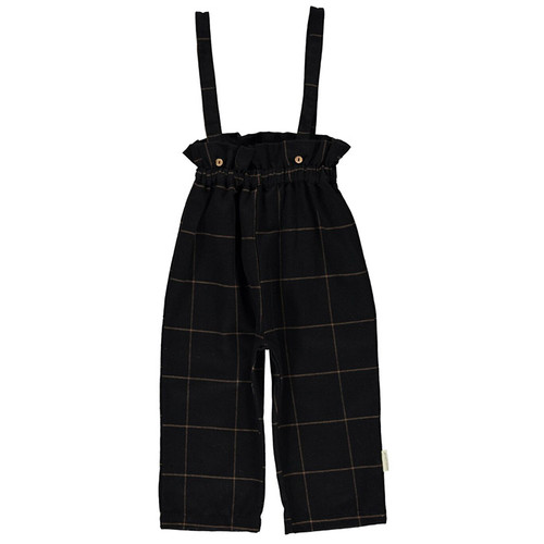 High Waist Trousers with Straps, Black Plaid