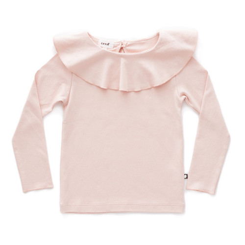 Oeuf Ruffle Collar Tee, Light Pink