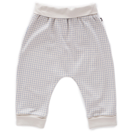 Oeuf Harem Pants, Light Grey/Blue Checks