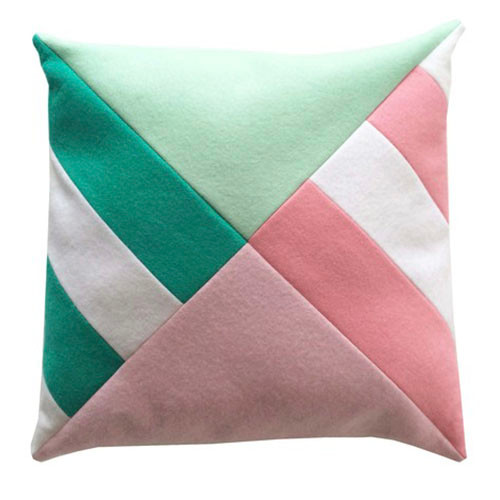 How About Frankie Cushion Cover, Mint/Pink Triangle Stripes