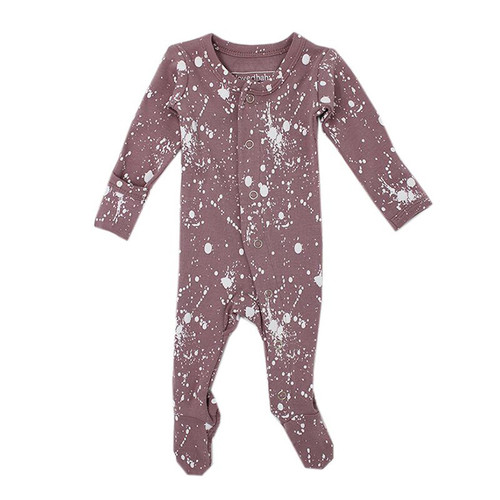 Organic Footed Overall, Lavender Splatter