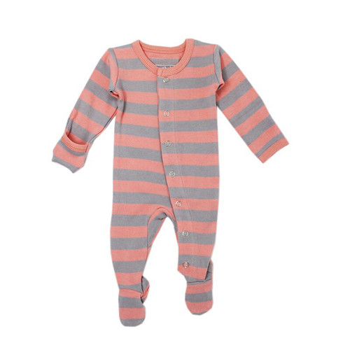 Organic Footed Overall, Coral/Light Gray Stripe