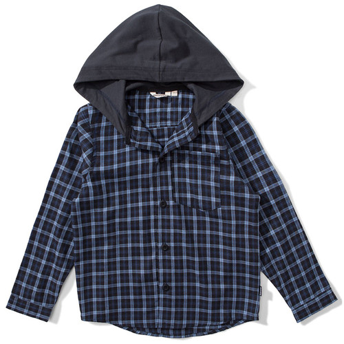 Huffle Hooded Flannel, Blue Check