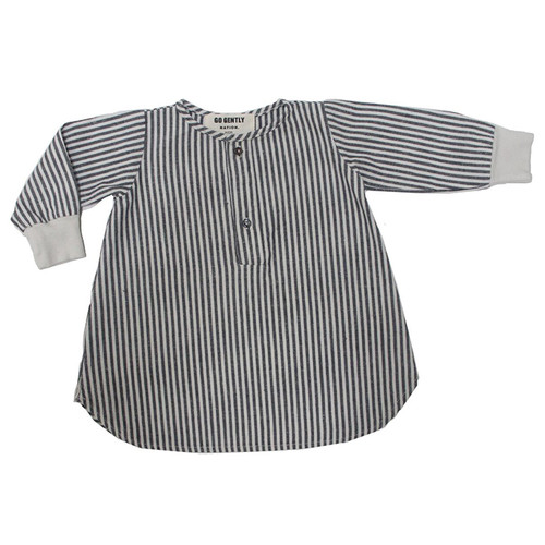 Placket Dress, Vertical Natural Stripe