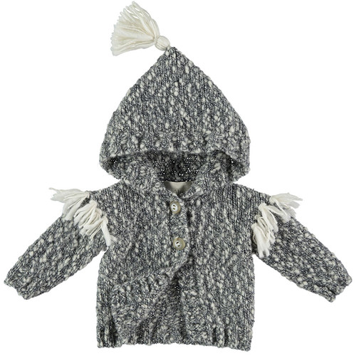 Koala Knit Pom Pom Jacket, Grey