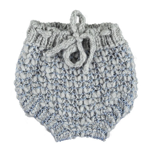 Knitted Baby Shorties, Grey Jacard with Blue Lurex
