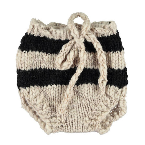 Knitted Baby Shorties, Ecru with Black Stripes